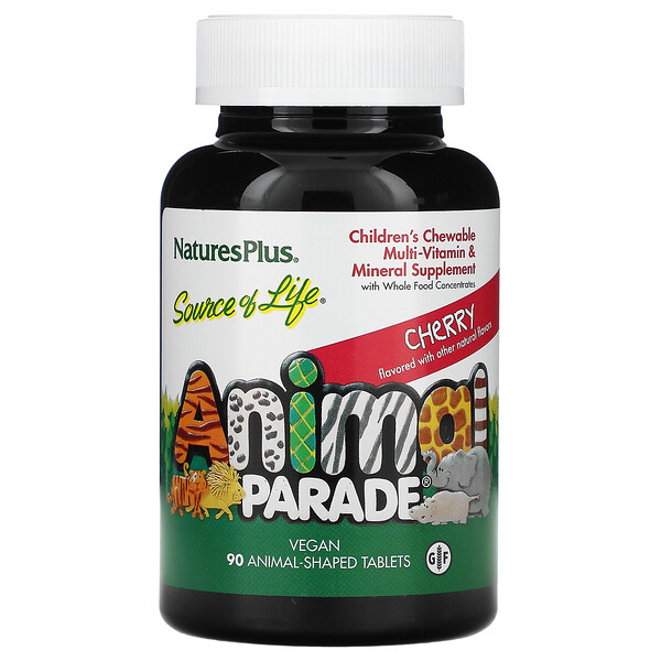 Source of Life, Animal Parade, Children's Chewable Multi-Vitamin & Mineral Supplement, Cherry, 90 Animal-Shaped Tablets