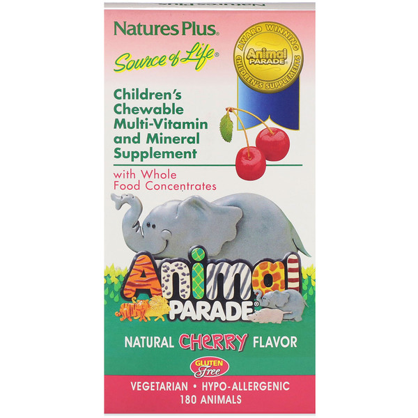 Source of Life, Animal Parade, Children's Chewable Multi-Vitamin and Mineral Supplement, Natural Cherry Flavor, 180 Animals