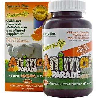 Nature's Plus, Source of Life, Animal Parade, Children's Chewable Multi-Vitamin & Mineral Supplement, Natural Orange Flavor, 180 Animals