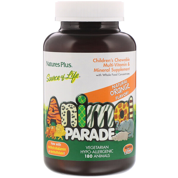 Nature's Plus, Source of Life, Animal Parade, Suplemento Masticable de Vitaminas y Minerales Multiples Para Niños, Sabor Natural de Naranja 180 Animales