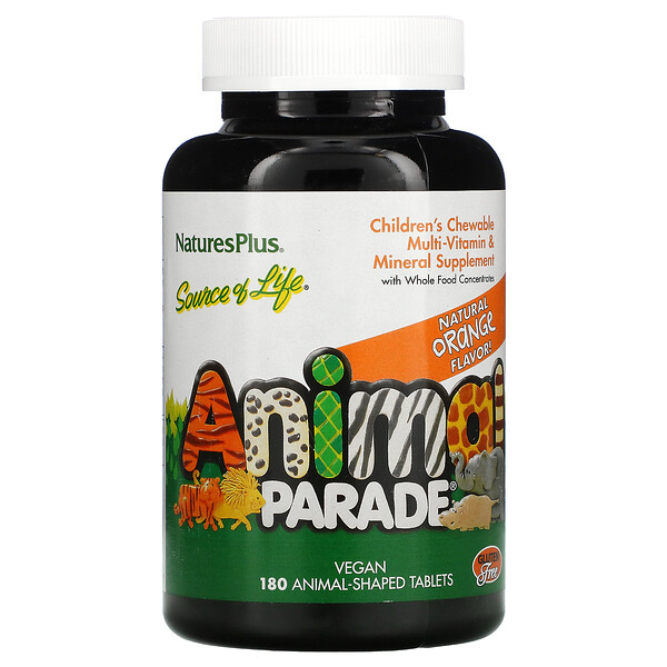 Source of Life, Animal Parade, Children's Chewable Multi-Vitamin and Mineral Supplement, Natural Orange, 180 Animal-Shaped Tablets