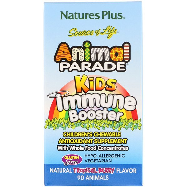 Nature's Plus, Source of Life, Animal Parade, Kids Immune Booster, Natural Tropical Berry Flavor, 90 Animals