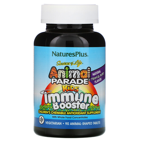 Source of Life, Animal Parade, Kids Immune Booster, Natural Tropical Berry Flavor, 90 Animals