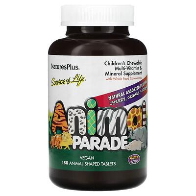 Купить Nature's Plus AnimalParade, добавка для детей с мультивитаминами и минералами, ассорти из натуральных вкусов, 180жевательных таблеток в форме животных