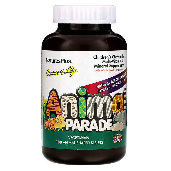 Animal Parade, Children's Chewable Multi-Vitamin and Mineral, Natural Assorted Flavors, 180 Animal-Shaped Tablets