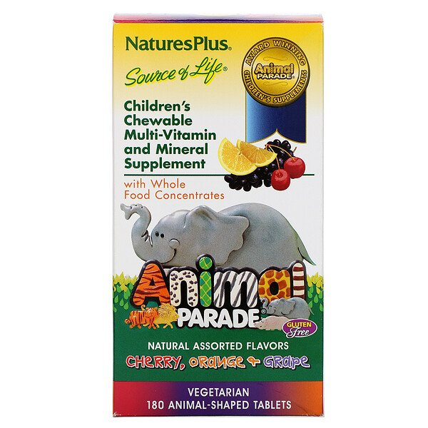 Animal Parade, Children's Chewable Multi-Vitamin and Mineral, Assorted Flavors, 180 Animal-Shaped Tablets