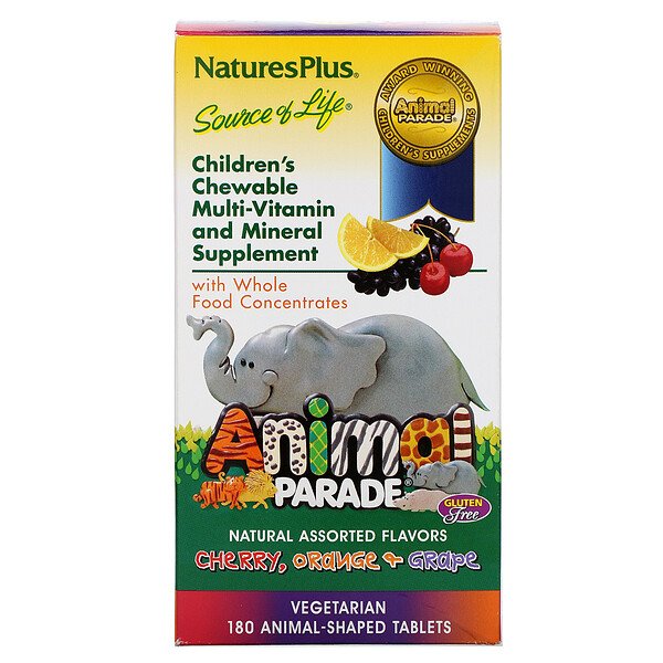 Nature's Plus, Animal Parade, Children's Chewable Multi-Vitamin and Mineral, Assorted Flavors, 180 Animal-Shaped Tablets