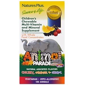 Nature's Plus, Жевательные таблетки для детей с мультивитаминами в форме животных, несколько вкусов, 180 животных