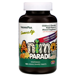 Натурес Плюс, Animal Parade, Children's Chewable Multi-Vitamin and Mineral, Natural Assorted Flavors, 180 Animal-Shaped Tablets отзывы покупателей