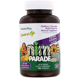 Nature's Plus, Source of Life, Children's Chewable Multi-Vitamin and Mineral Supplement, Natural Grape Flavor, 180 Animals