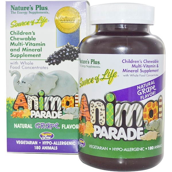 Nature's Plus, Children's Chewable Multi-Vitamin and Mineral Supplement, Natural Grape Flavor, 180 Animals