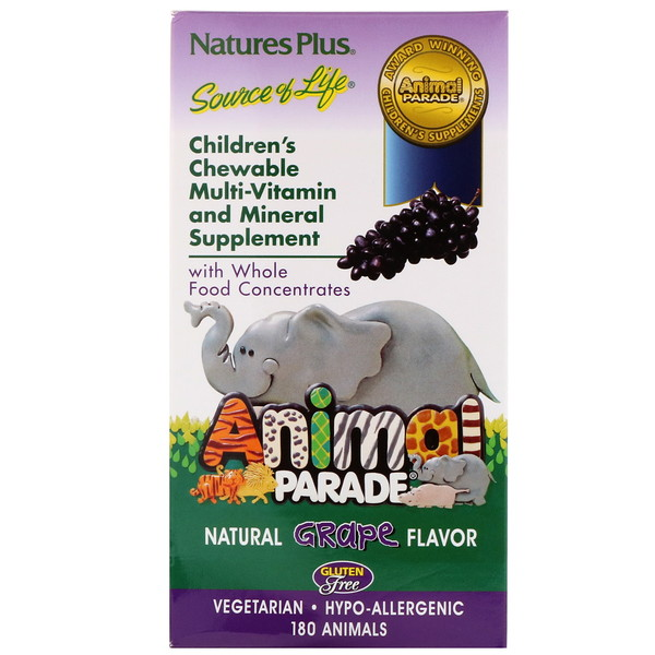 Children's Chewable Multi-Vitamin and Mineral Supplement, Natural Grape Flavor, 180 Animals