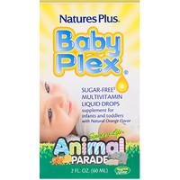 Source of Life, Animal Parade, Baby Plex, жидкие мультивитаминные капли без сахара, с натуральным вкусом апельсина, 2 жидкие унции (60 мл) - фото