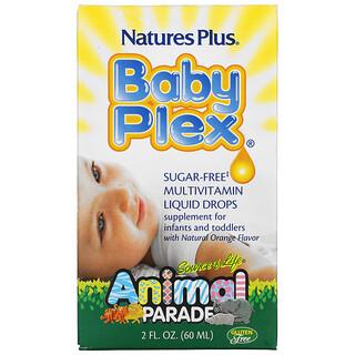 Nature's Plus, Source of Life, Animal Parade, Baby Plex, multivitamínico en gotas, sin azúcar, sabor naranja natural, 2 onzas (60 ml)