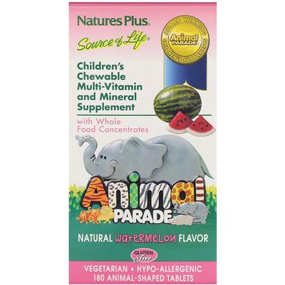 Источник жизни, парад животных, детские, жевательные, натуральный вкус арбуза, 180 животных