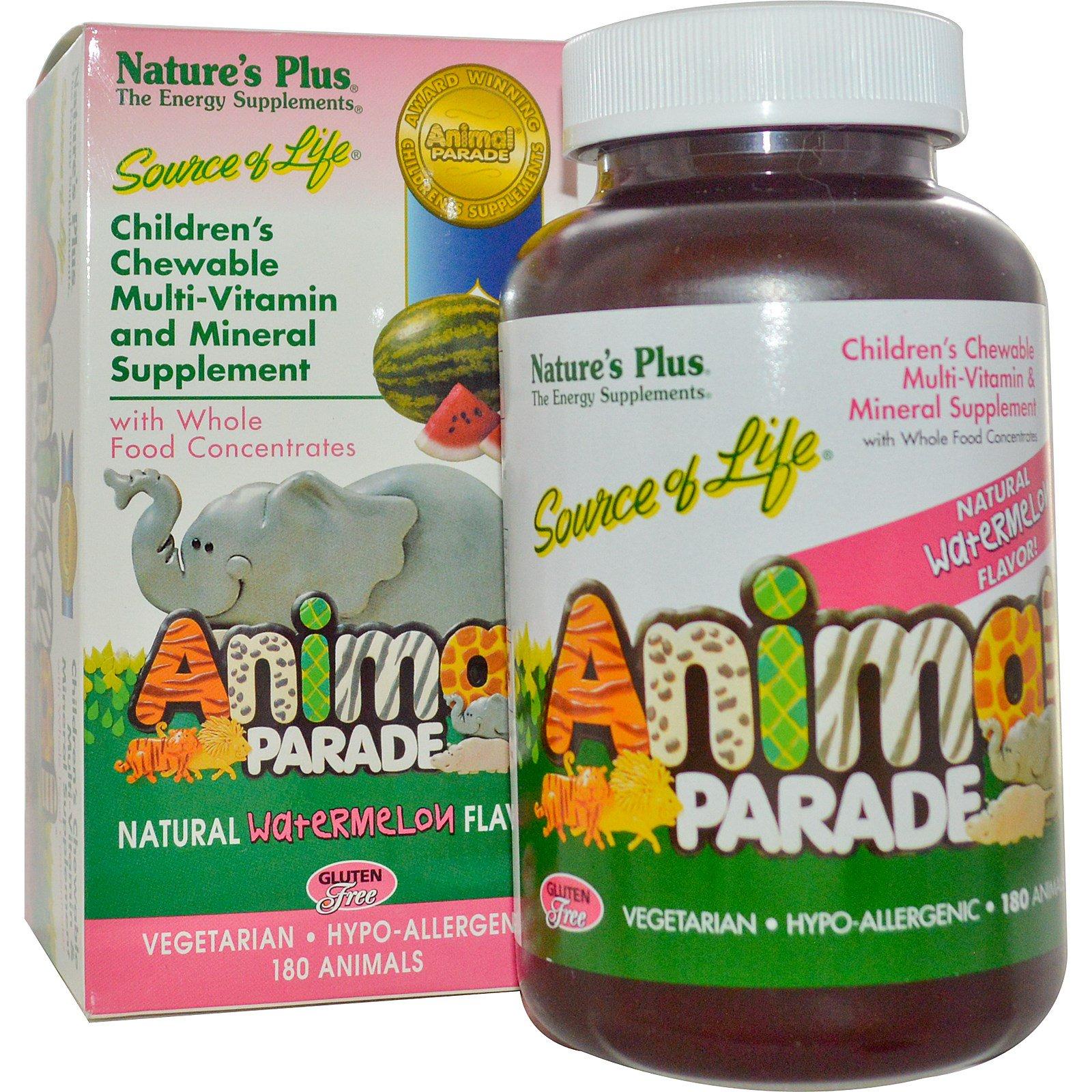 Nature's Plus, Источник жизни, парад животных, детские, жевательные, натуральный вкус арбуза, 180 желатиновых животных