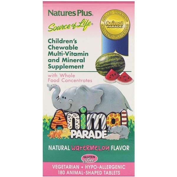 Nature's Plus, Source of Life (مصدر الحياة)، 'مسيرة الحيوانات'، علكات للمضغ للأطفال، بنكهة البطيخ الطبيعية، 180 علكة