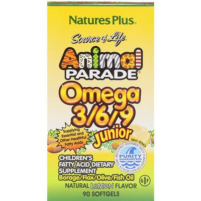 Купить Source of Life, Animal Parade, омега 3/6/9 юниор, натуральный лимонный вкус, 90 мягких таблеток