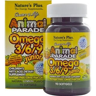 Nature's Plus, Source of Life, Animal Parade, Omega 3/6/9 Junior, Natural Lemon Flavor, 90 Softgels