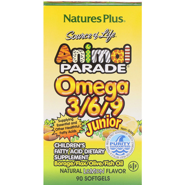 Nature's Plus, Source of Life, Animal Parade, Omega 3/6/9 Junior, Sabor Natural de Limón, 90 Softgels