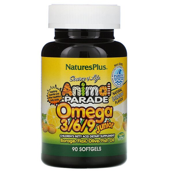Source of Life, Animal Parade, Omega 3/6/9 Junior, Natural Lemon Flavor, 90 Softgels