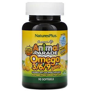 Натурес Плюс, Source of Life, Animal Parade, Omega 3/6/9 Junior, Natural Lemon Flavor, 90 Softgels отзывы покупателей