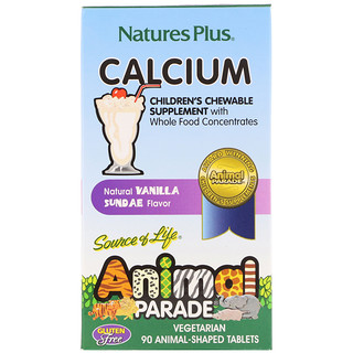 Nature's Plus, Source of Life, Animal Parade, Calcium, Children's Chewable Supplement, Natural Vanilla Sundae Flavor, 90 Animal-Shaped Tablets
