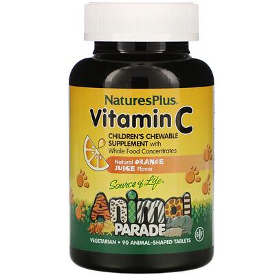 Купить Nature's Plus Source of Life, Animal Parade, витаминC, вкус натурального апельсинового сока, 90таблеток в форме животных