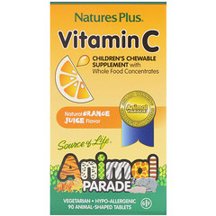 Nature's Plus, Source of Life, Animal Parade, Vitamin C, Children's Chewable Supplement, Natural Orange Juice Flavor, 90 Animal-Shaped Tablets