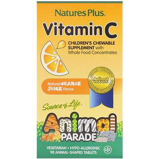 Nature's Plus, Source of Life, Animal Parade, vitamina C, suplemento masticable para niños, sabor natural a jugo de naranja, 90 tabletas con forma de animales.