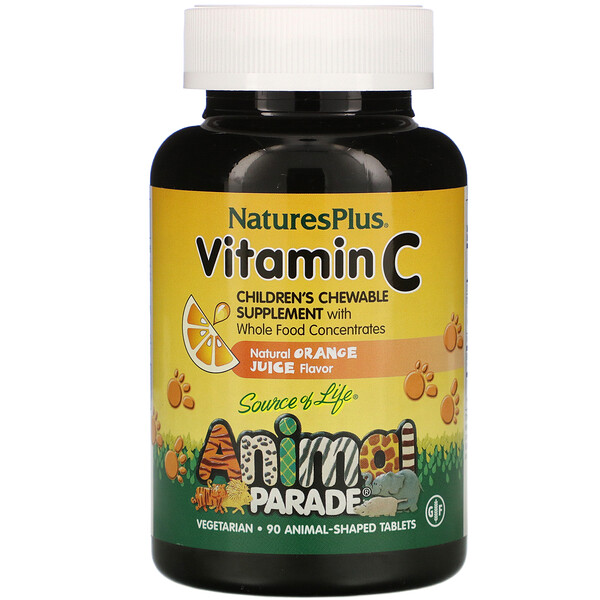 Nature's Plus, Source of Life, Animal Parade, Vitamin C, Natural Orange Juice Flavor, 90 Animal-Shaped Tablets
