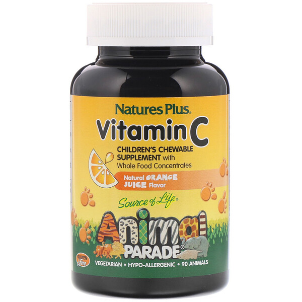 Source of Life, Animal Parade, Vitamin C, Natural Orange Juice Flavor, 90 Animal-Shaped Tablets