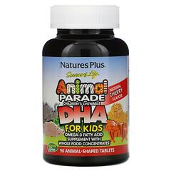 Nature's Plus, 生命之源,動物大遊行,兒童 DHA,兒童咀嚼片,天然櫻桃味,90 粒動物形狀的片劑