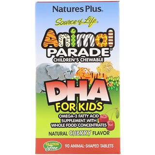 Nature's Plus, Source of Life, DHA para niños, Animal Parade, masticable para niños, sabor natural a cereza, 90 animales