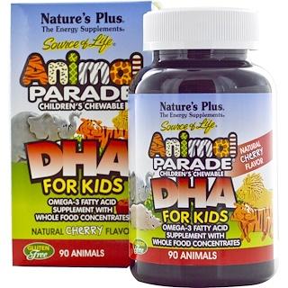 """Nature's Plus, Источник жизни, DHA для детей, детские жевательные конфеты """"Шествие животных"""", с натуральным вишневым вкусом, 90 штук"""
