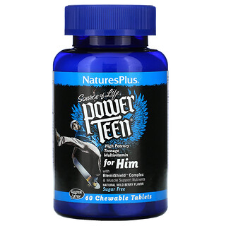 Nature's Plus, Source of Life, Power Teen for Him, Natural Wild Berry, 60 Chewable Tablets