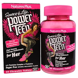 Nature's Plus, Source of Life, Power Teen, For Her, Natural Wild Berry Flavor, 60 Chewable Tablets
