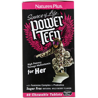 Nature's Plus, Source of Life, Power Teen, For Her, Sugar Free, Natural Wild Berry Flavor, 60 Chewable Tablets