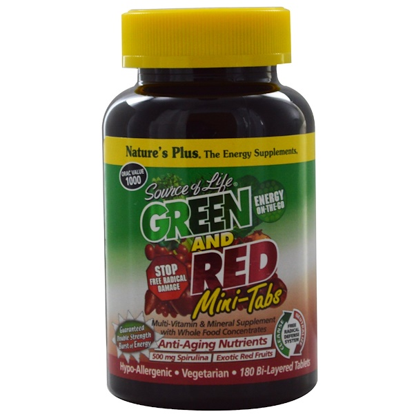 Nature's Plus, Source of Life, Green and Red Mini-Tabs, 180 Bi-Layered Tablets (Discontinued Item)