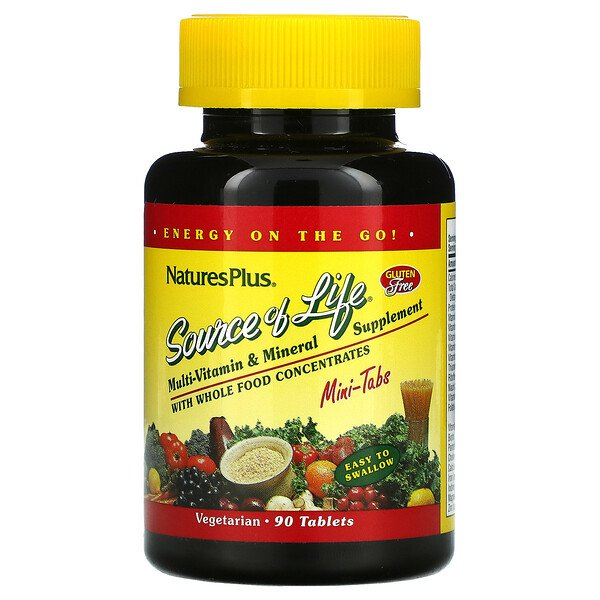 Source Of Life, Multi-Vitamin & Mineral Supplement with Whole Food Concentrates, 90 Mini-Tablets