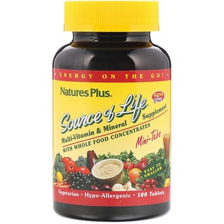 Nature's Plus, Source of Life, Multi-Vitamin & Mineral Supplement with Whole Food Concentrates, 180 Mini Tablets