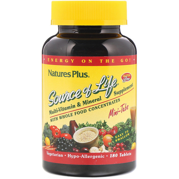 Source of Life, Multi-Vitamin & Mineral Supplement with Whole Food Concentrates, 180 Mini Tablets