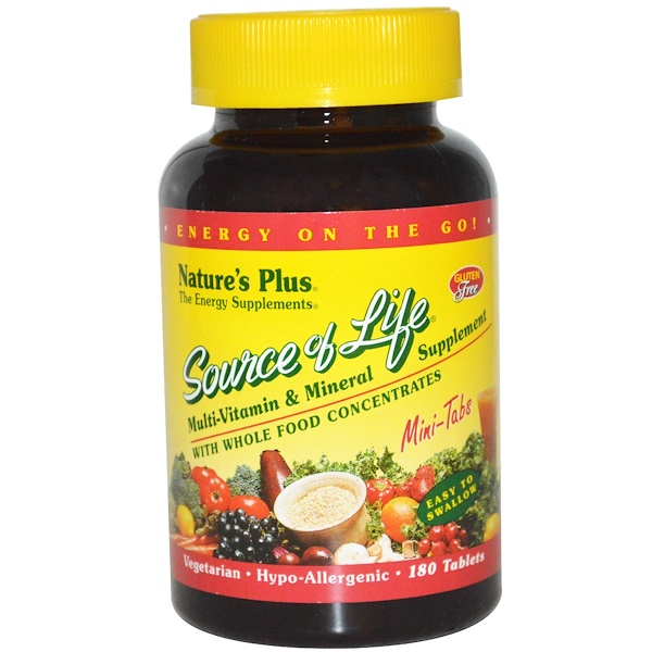 Nature's Plus, Source of Life, Multi-Vitamin & Mineral Supplement, 180 Mini Tablets