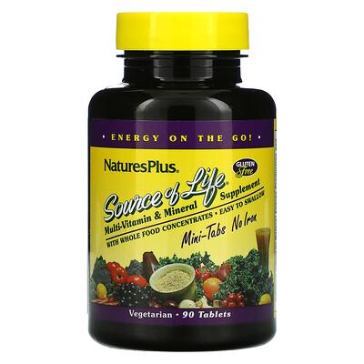 Купить Nature's Plus Source Of Life, Multi-Vitamin & Mineral Supplement, No Iron, 90 Mini-Tablets