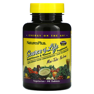 Nature's Plus, Source Of Life, Multi-Vitamin & Mineral Supplement, No Iron, 90 Mini-Tablets