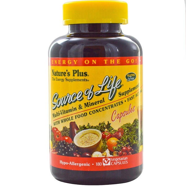 Nature's Plus, Source of Life, Multi-Vitamin & Mineral Supplement, 180 Veggie Caps (Discontinued Item)