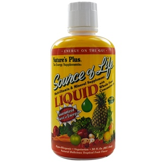 Nature's Plus, Source of Life, Liquid Multi-Vitamin & Mineral Supplement, Tropical Fruit Flavor, 30 fl oz (887.10 ml)