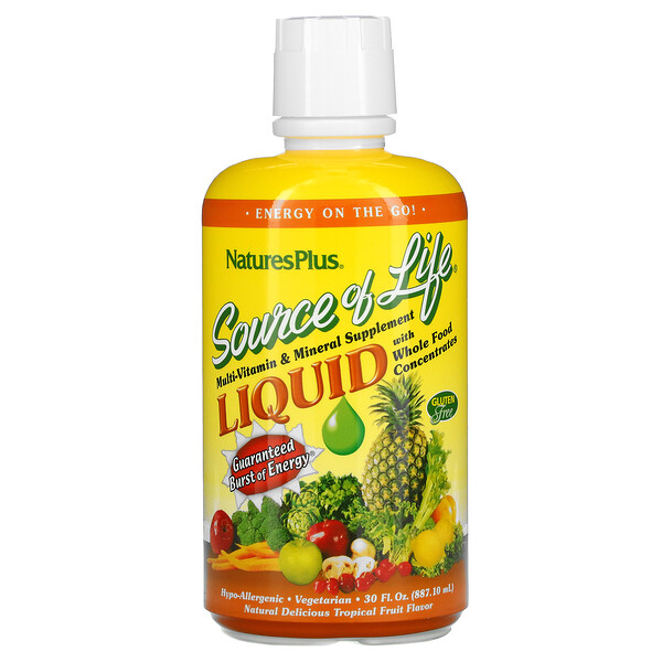 Source of Life, Liquid Multi-Vitamin & Mineral Supplement with Whole Food Concentrates, Tropical Fruit, 30 fl oz (887.10 ml)