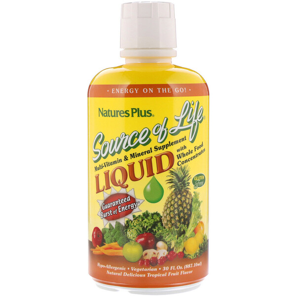 Nature's Plus, Source of Life, Liquid Multi-Vitamin & Mineral Supplement with Whole Food Concentrates, Tropical Fruit Flavor, 30 fl oz (887.10 ml)