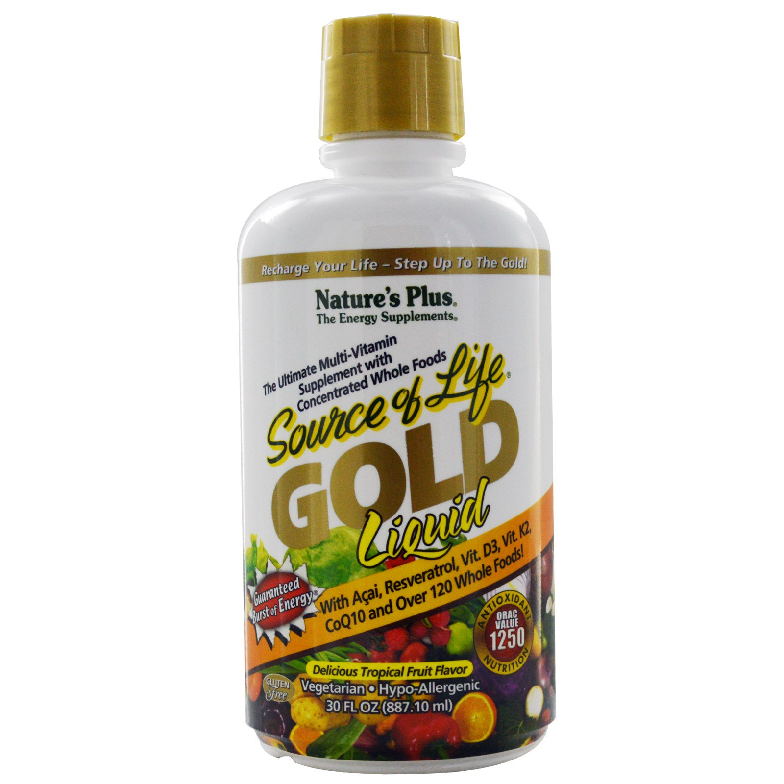Nature's Plus, Source of Life, золотая жидкость, отличный вкус тропических фруктов, 30 жид. унций (887,10 мл)